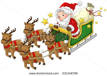 Cartoon Santa Claus On A Pet Reindeer Sleigh With Present For Children In Christmas Flying In White Isolated Back Presents For Kids Reindeer And Sleigh Cartoon