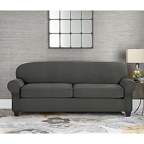Sofa Sale Sure Fit Designer Suede Individual Cushion Seat Sofa Slipcover in Grey