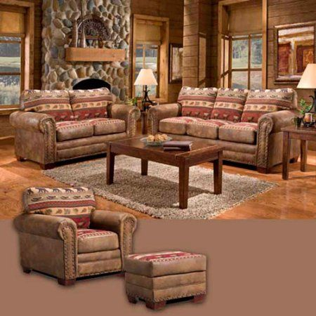 American Furniture Classics Sierra Lodge 4 Piece Set With Sleeper Multicolor Living Room Sets Lodge Living Room 4 Piece Living Room Set