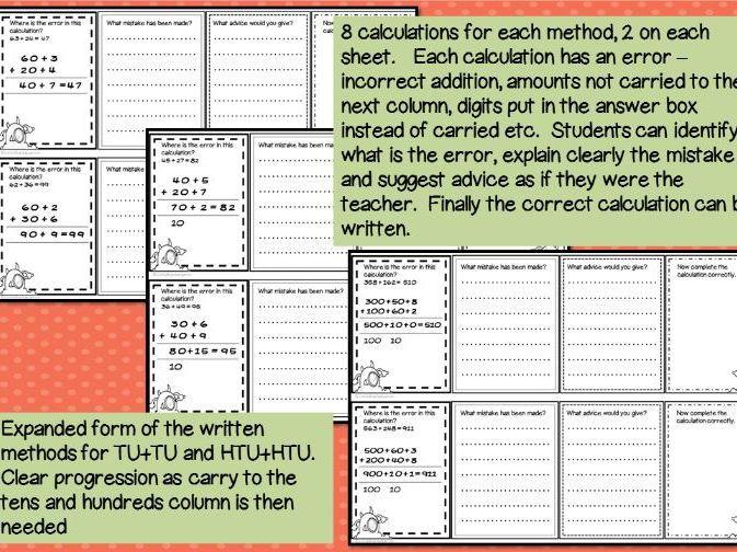 math worksheet : error analysis  spot the mistake task cards for written addition  : Addition Column Crossword