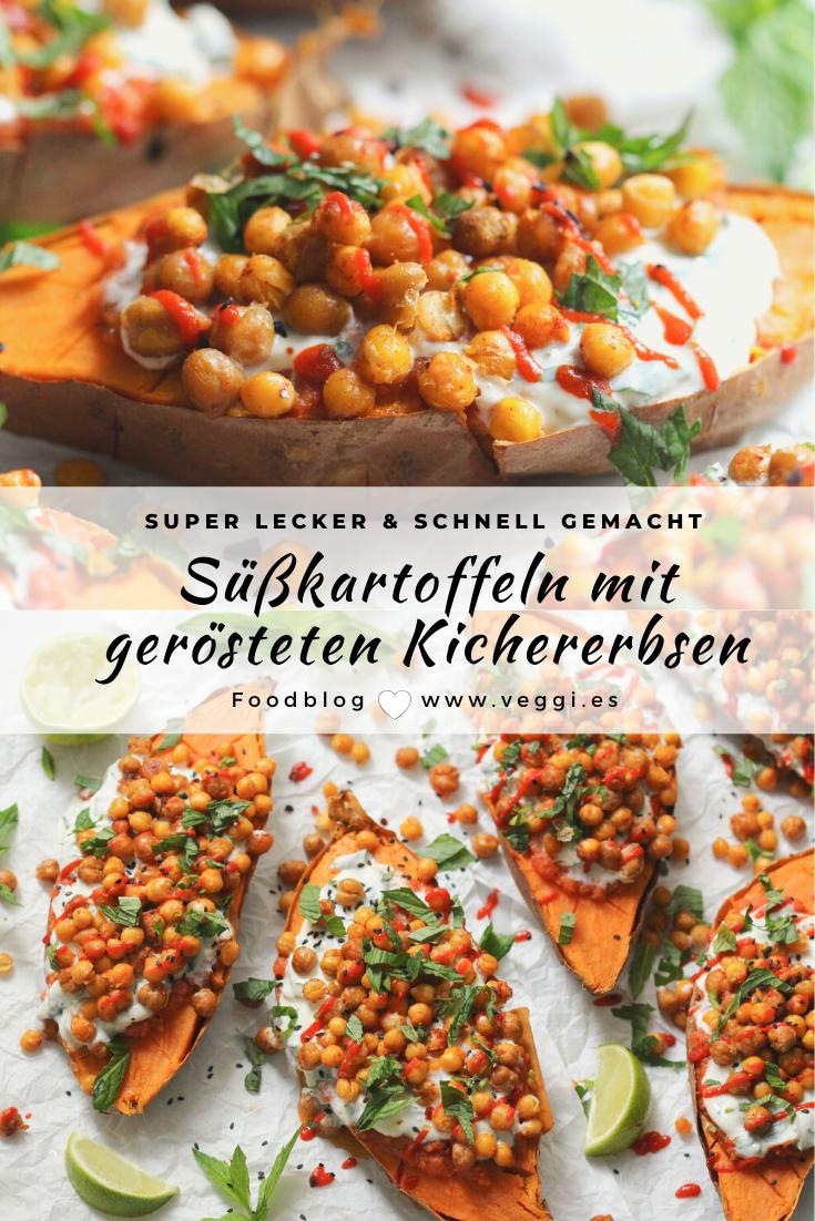 Vegan gefüllte Süßkartoffel-Hälften mit gerösteten Kichererbsen