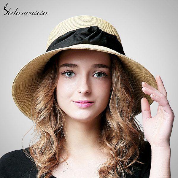 34766538a98 Fashion Multicolor Women Ladies Summer Beach Panama Wide Brim Sun Hat  Foldable Female Straw Cap and Bow SW120017