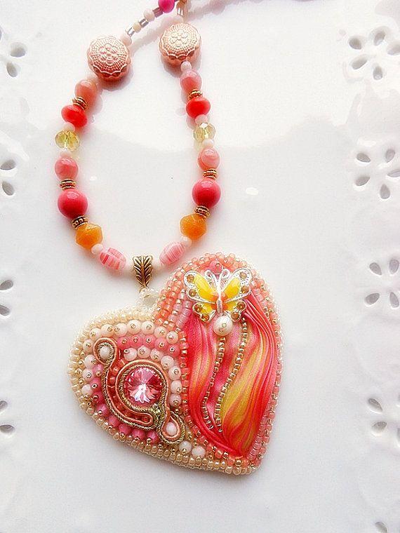 SHIBORI fita de seda bordado coração Bead pêssego e amarelo