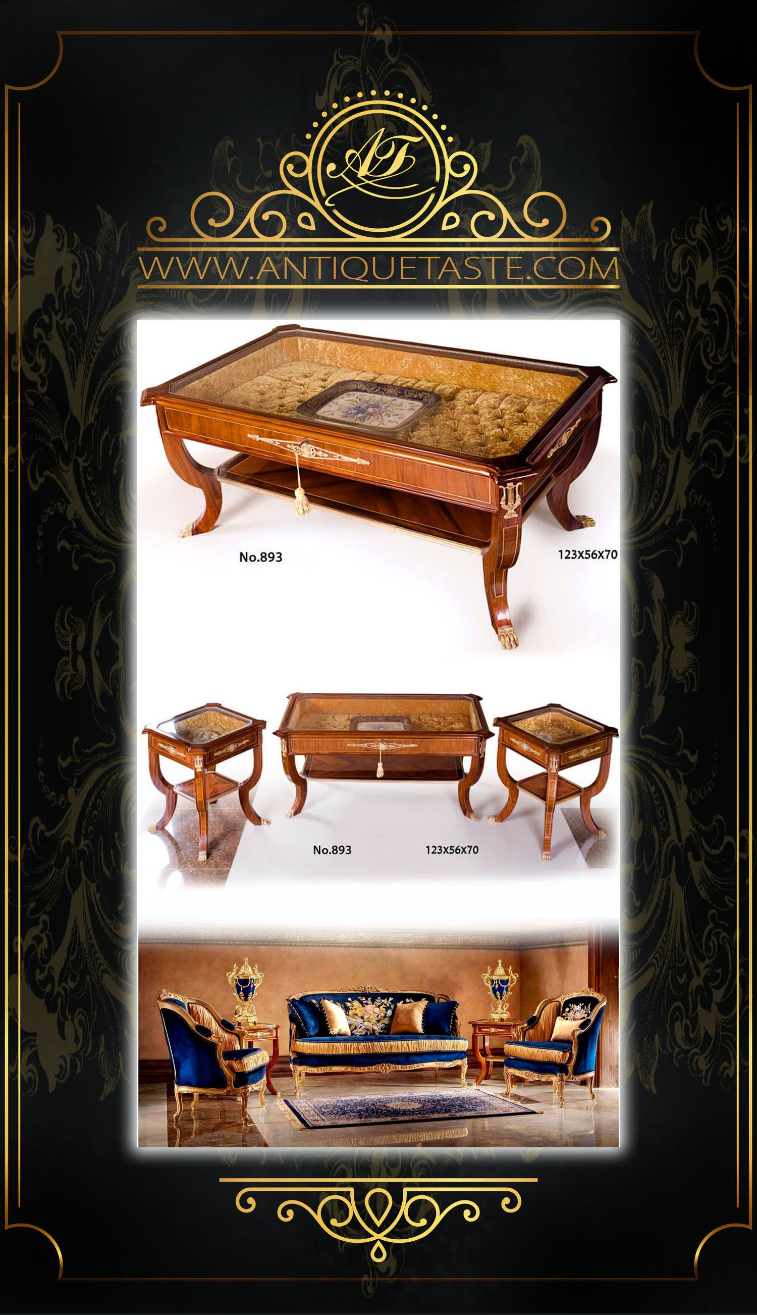 French Empire style ormolu-mounted veneer inlaid upholstered Display Coffee Table De Salon ...