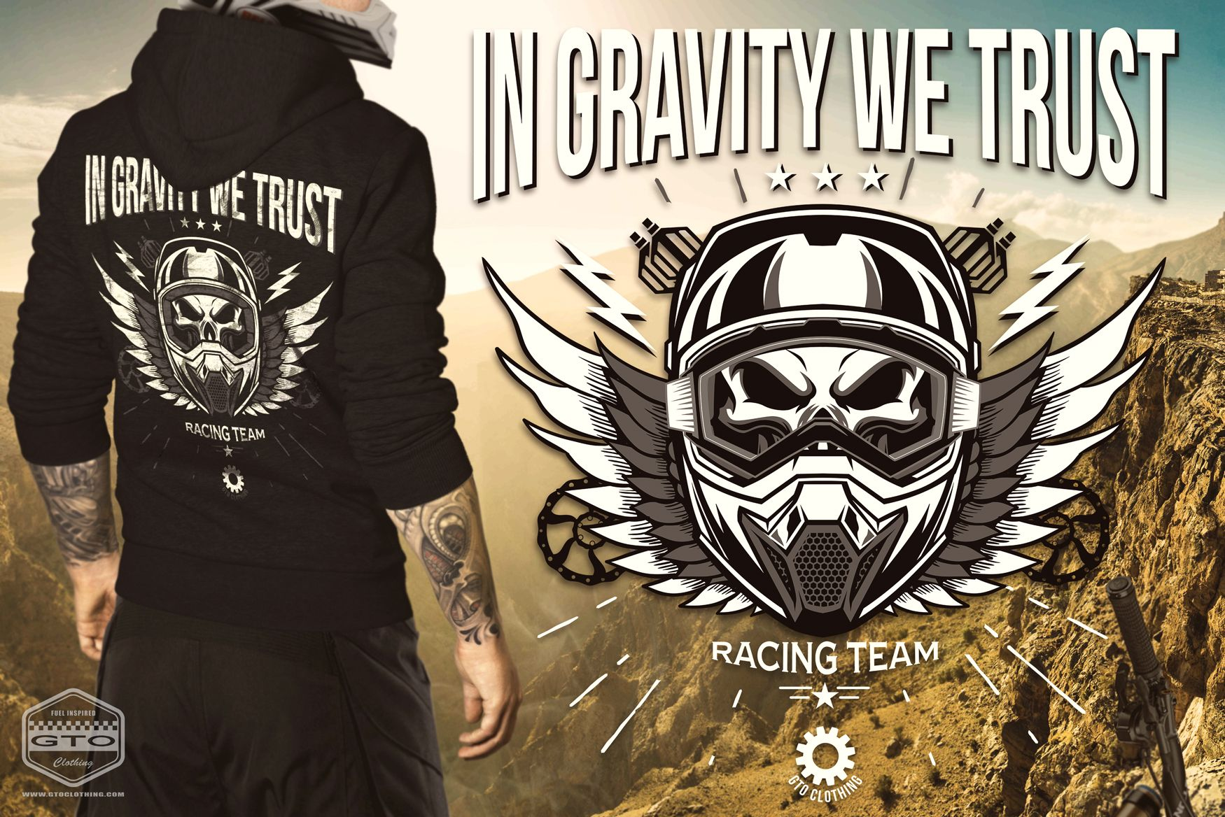 "Downhill Gravity Freeride Men's American Apparel T-Shirt – We do not only have a passion for Classic Muscle Cars and Rock 'n' Roll, but also for Gravity sports like Downhill biking and Freeriding. Finally we show our love for vertical riding with these ""In Gravity We Trust"" T-Shirts, Hoodies and Jackets for Women, Men and Kids. If you would like to see some more colors, please do not hesitate to contact us and we might create a new and special color combination for you only…"