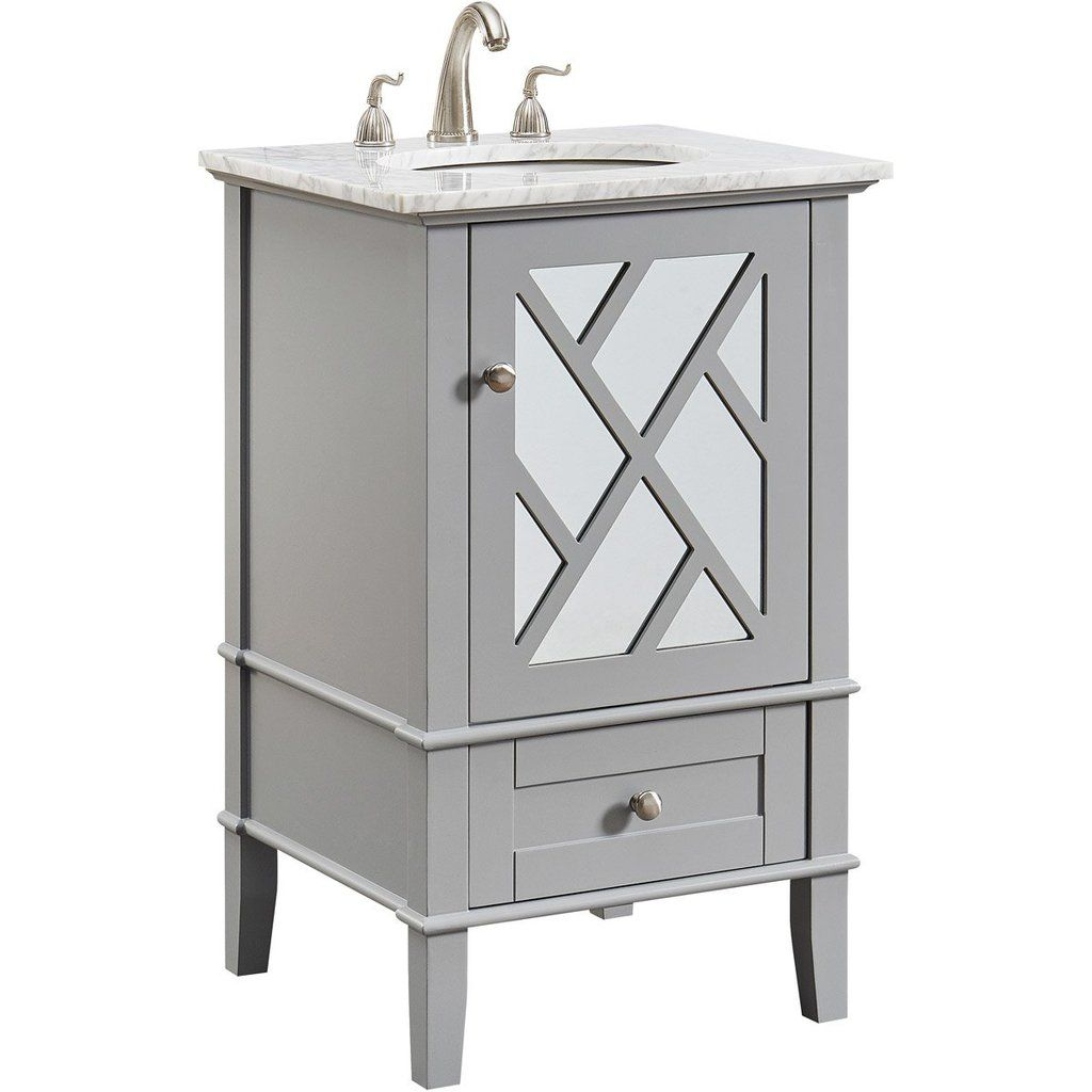 Luxe 21 X 35 1 Drawer 1 Door Vanity Cabinet Grey Finish Vf30221gr Single Bathroom Vanity Vanity Set Porcelain Sink