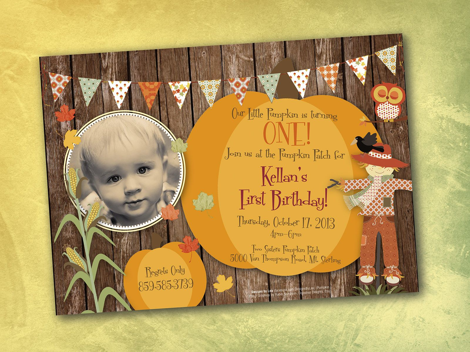 One Year Old Boy Birthday Invitation Pumpkin Patch Theme