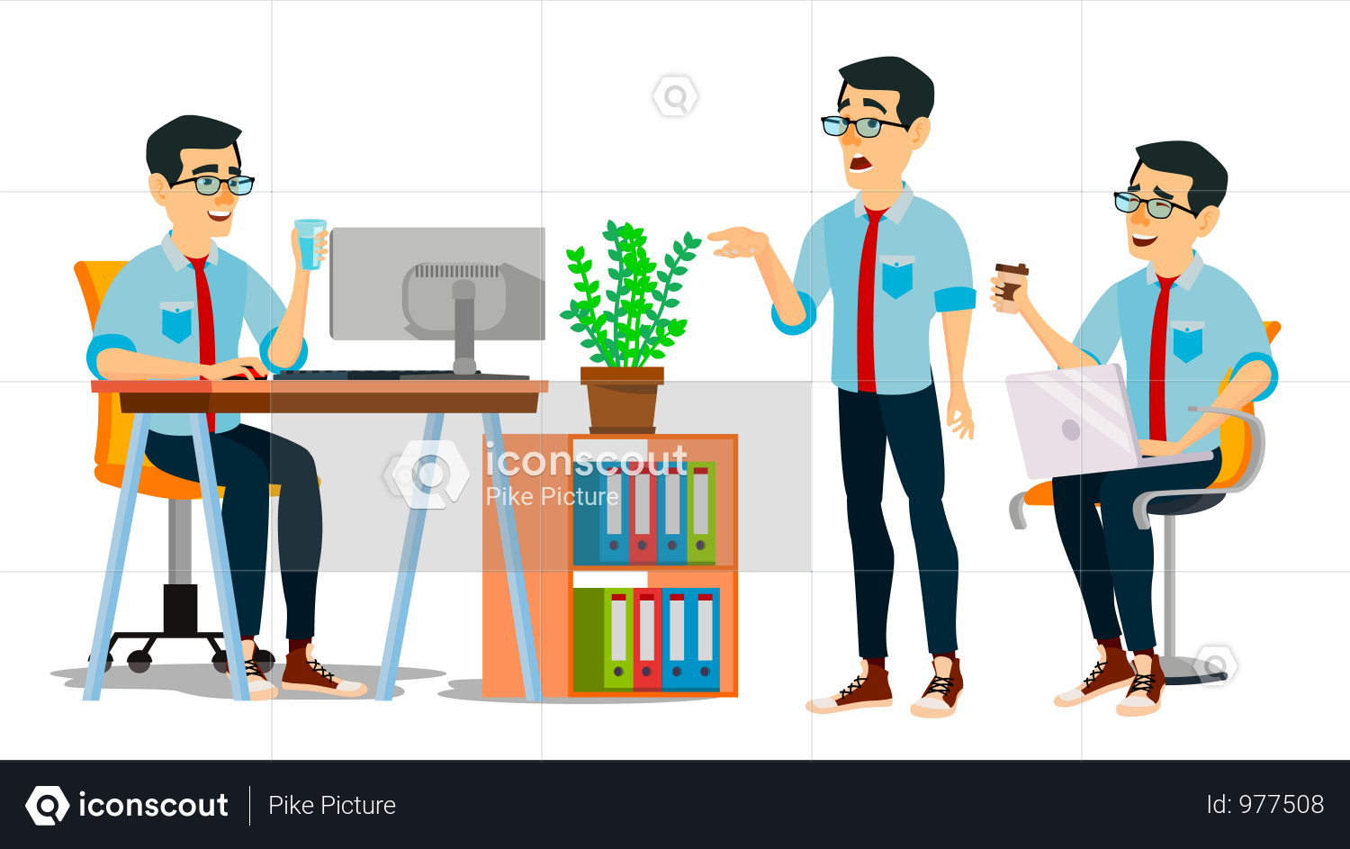 Businessman Character Working In Office On Desk Illustration Man Character Business Man Illustration