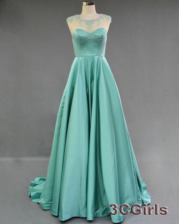 2016 elegant light green chiffon round neck handmade long prom ...