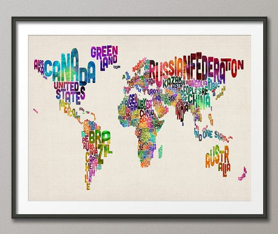 typographic text map of the world map art print 889 kaufen pinterest kleine insel. Black Bedroom Furniture Sets. Home Design Ideas