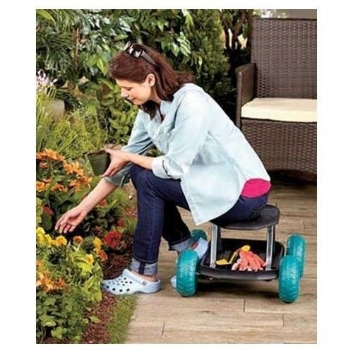 Garden Scooter Storage Seat Rolling Cart Portable Outdoor Gardening Tool  Yard