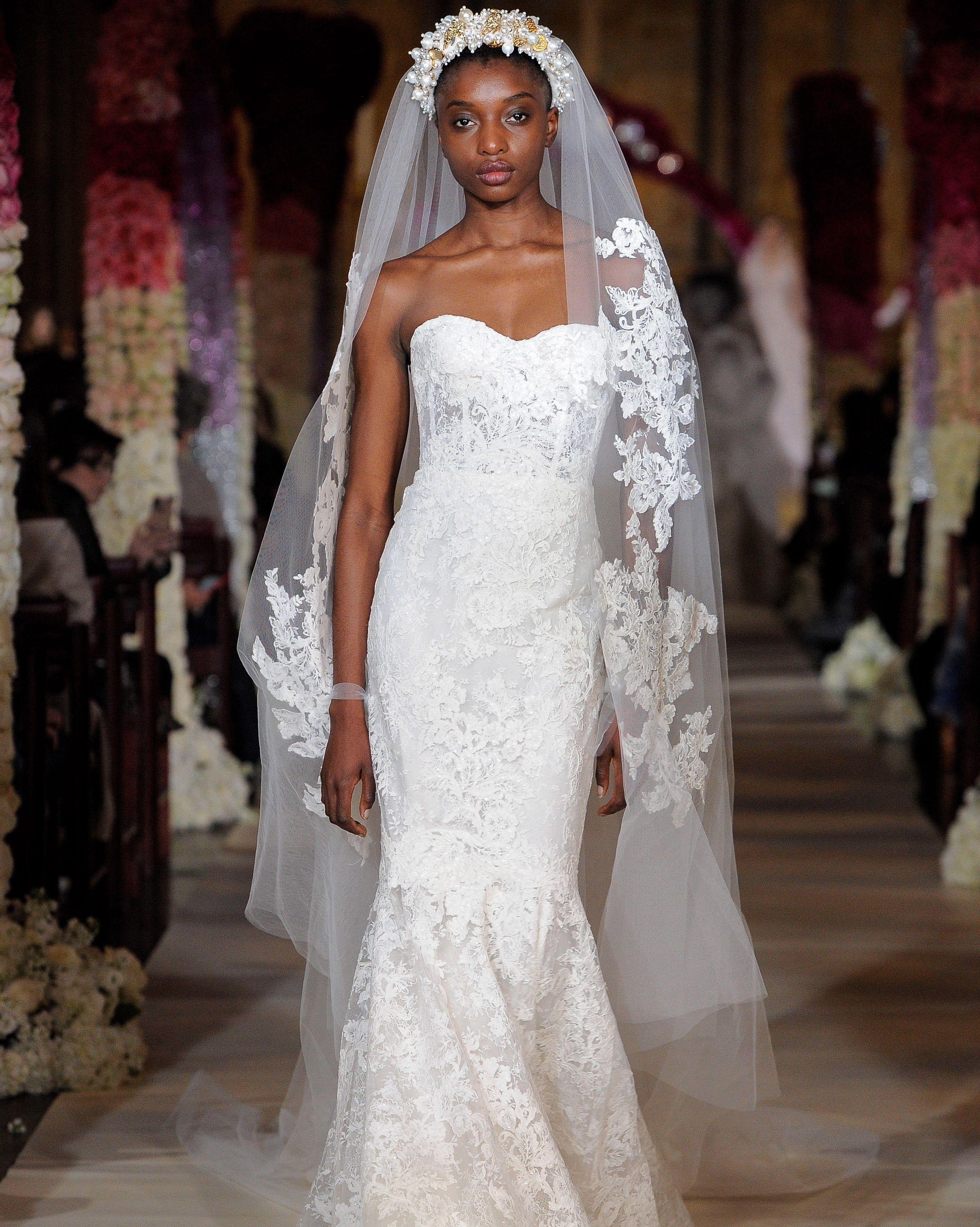 ec9fed029023 Reem Acra Spring 2020: Strapless lace trumpet wedding dress with bustier  bodice #Wedding #