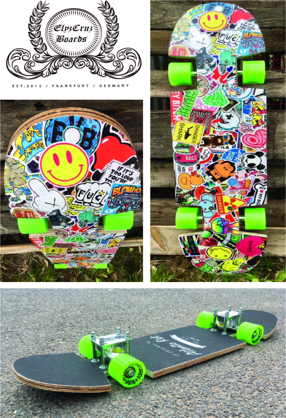 Slammed & Stickerbombed Skateboard / all work done by my ...