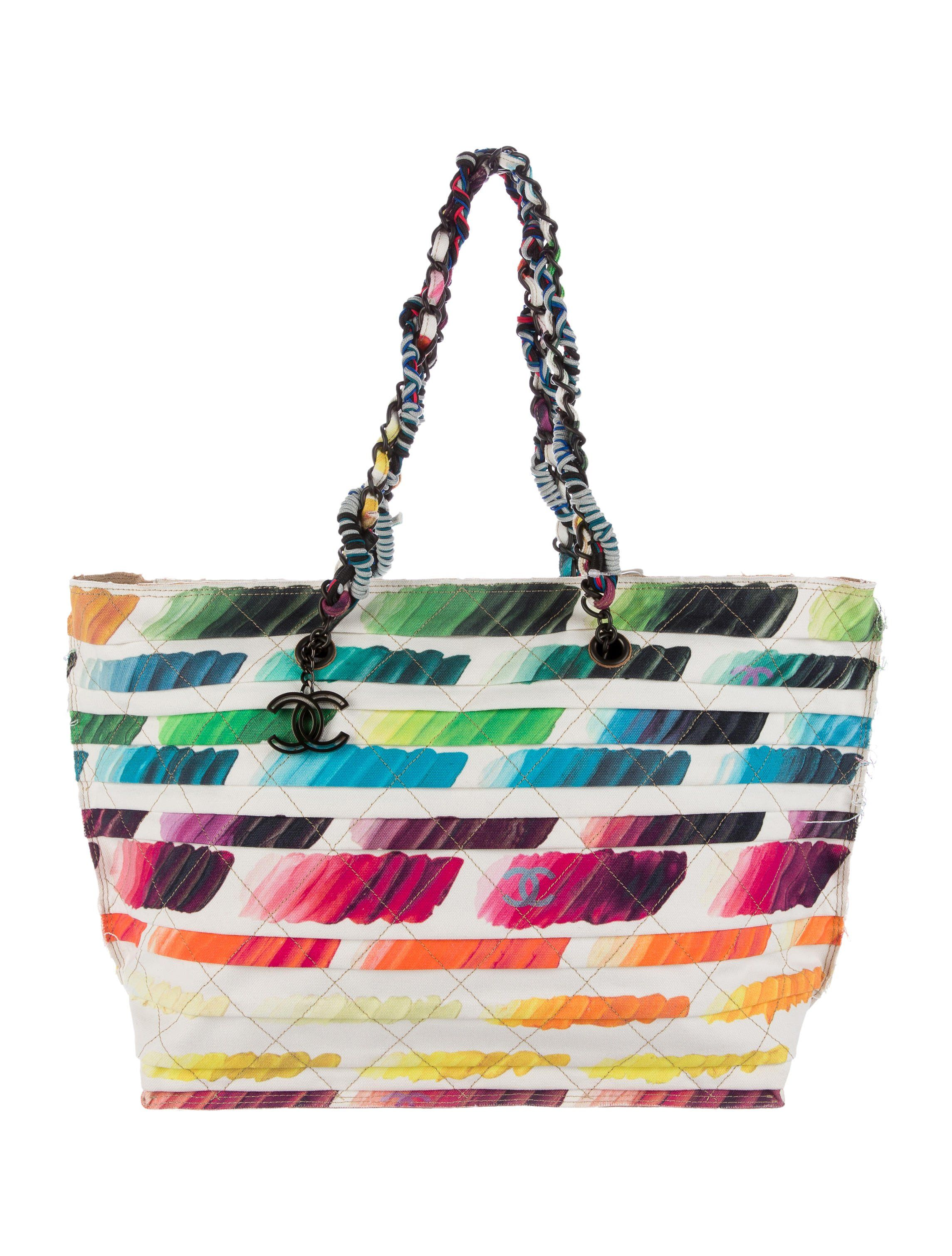 b2dd4ce7a White and multicolor quilted and tiered canvas Chanel Colorama shopping tote  with matte gunmetal hardware, dual chain-link shoulder straps, tan leather  base ...
