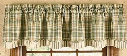 Plaid Curtains Green | Rosemary Layered Valance