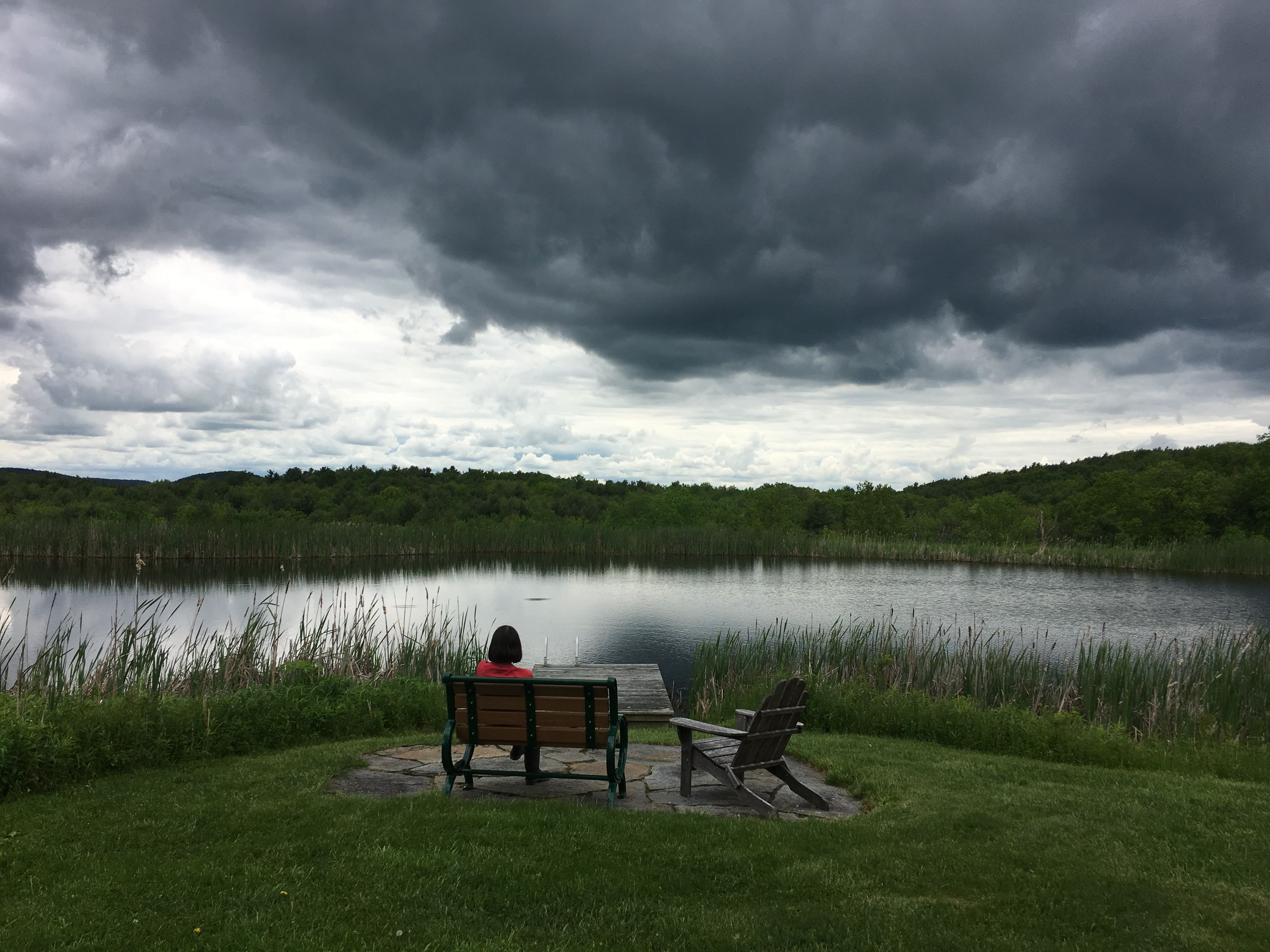 Sitting by the pond as the clouds roll in, Columbia County, New York, 6/17