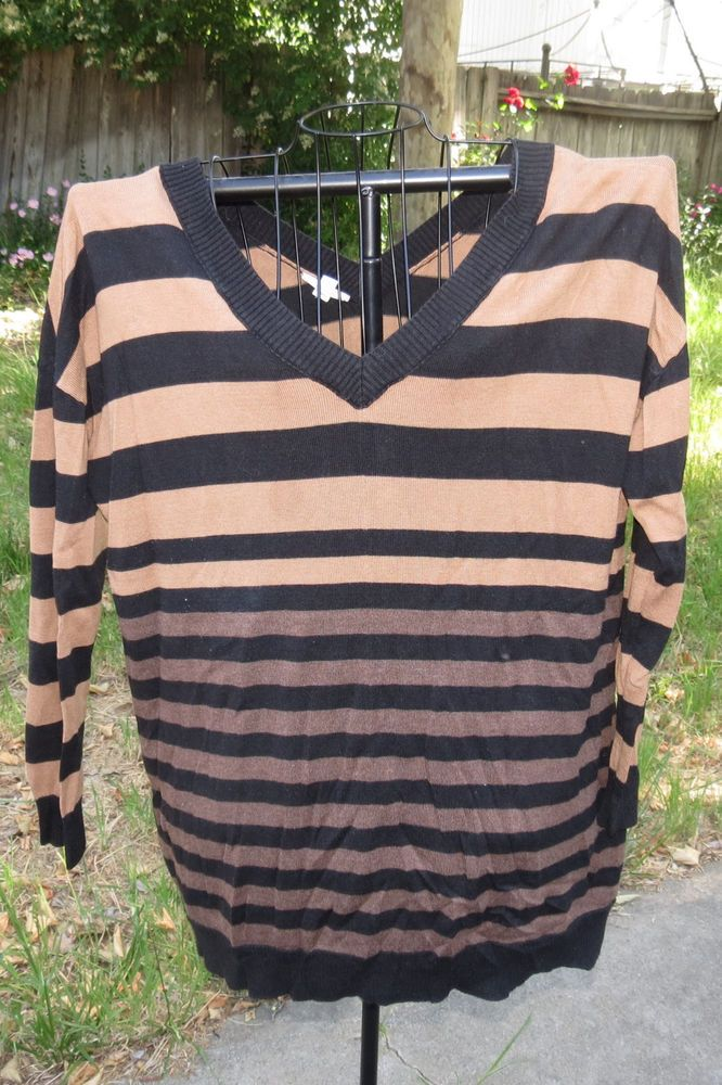 0f9d3c0b0ddd Womens Caslon Black   Brown Striped V-Neck Stretchy Roomy Fall Sweater Top  XL  Caslon  Sweater