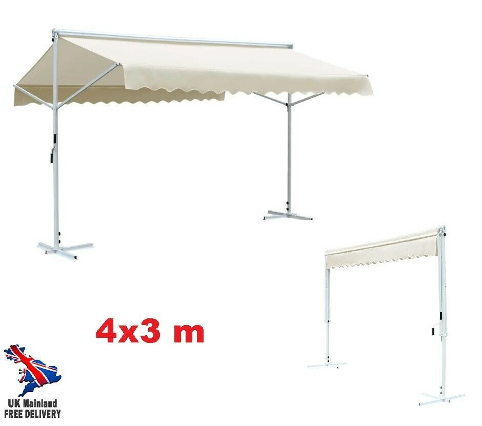 Xl Patio Awning Free Standing Portable Garden Bbq Sun Shade Canopy Shed 4x3 M In 2020 Sun Shade Canopy Shade Canopy Shade Tent