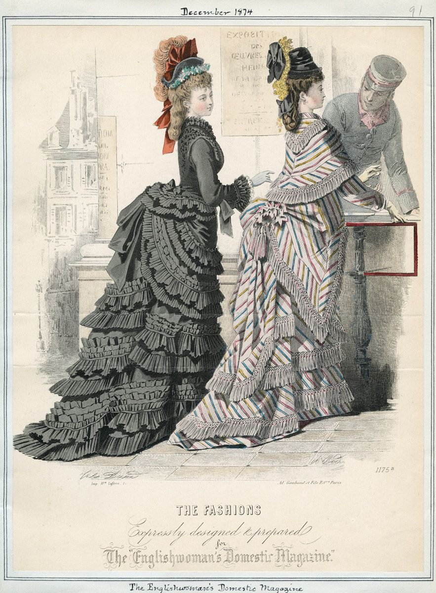 Walking/Traveling Dresses, December 1874. Both are interesting: the left is black but doesn't appear to be mourning dress, while the right has some interesting stripes going on. (source: Casey Fashion Plates @ LA Public Library)