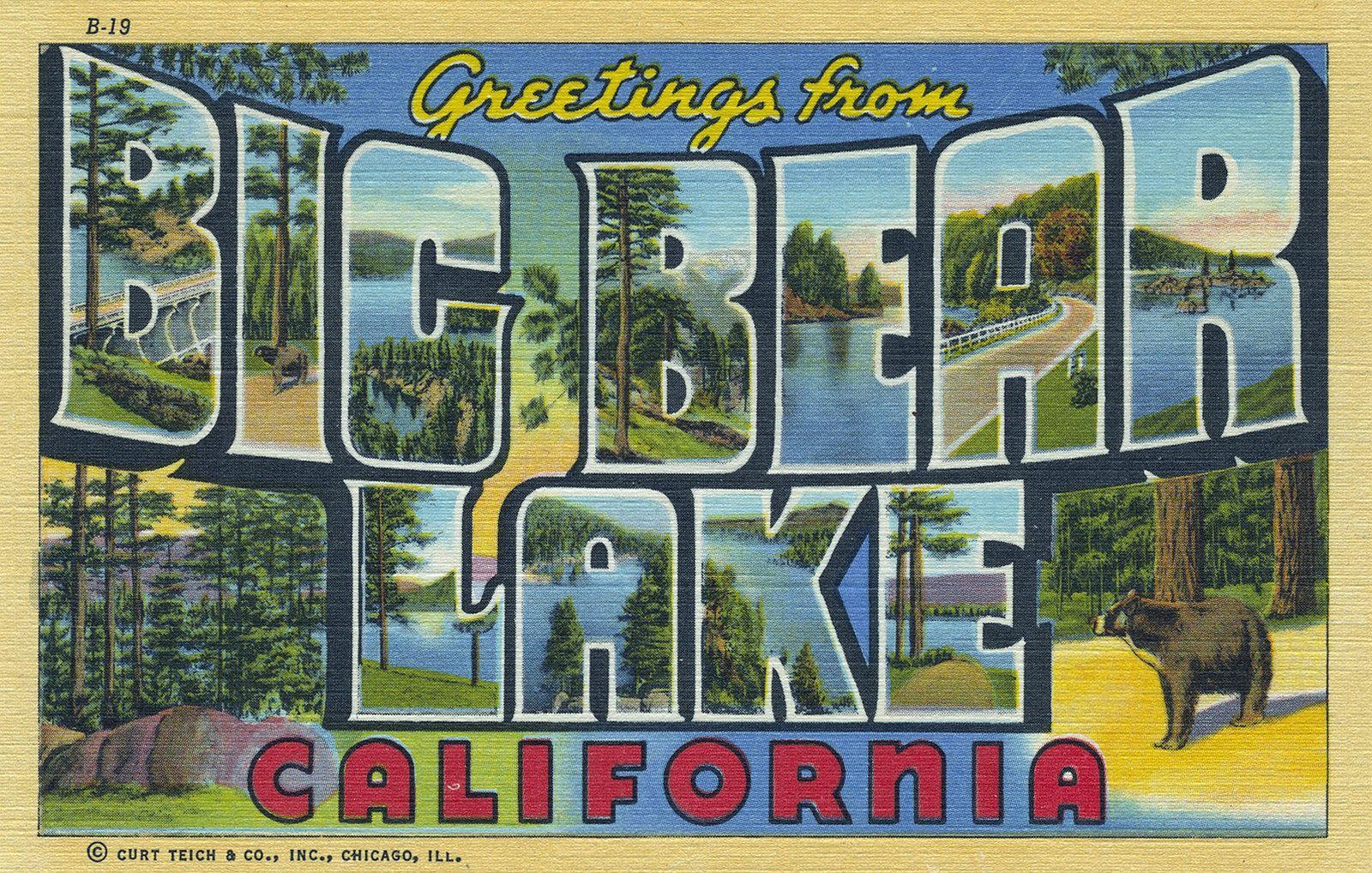 Postcard Big Bear Lake With Images Big Bear Lake Bear Lake