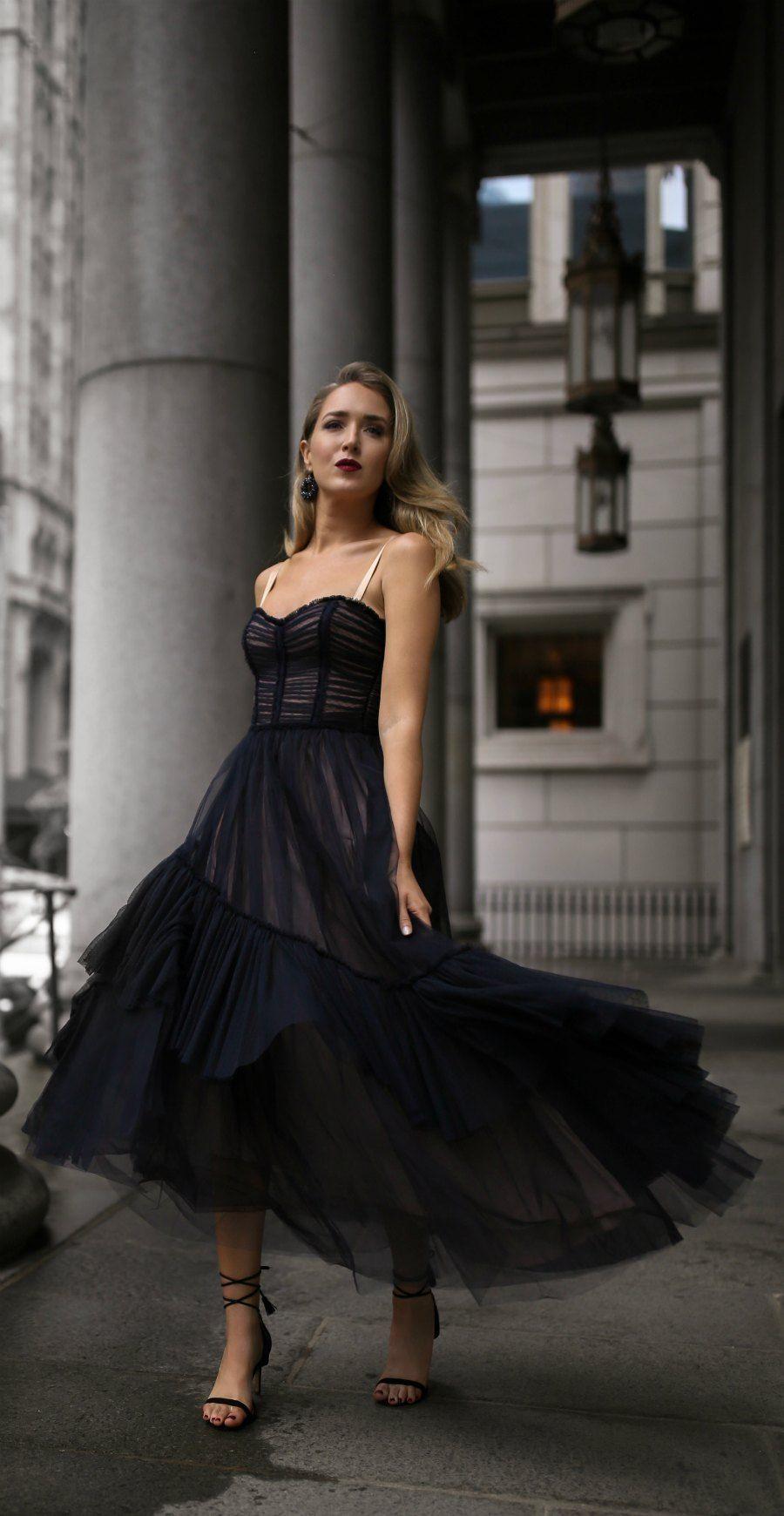 30 Dresses In 30 Days Day 19 Charity Gala Black Lace Tulle Bodice Style Flowy Midi Dress B Flowy Dress Formal Necklines For Dresses Black Dresses Classy [ 1740 x 900 Pixel ]