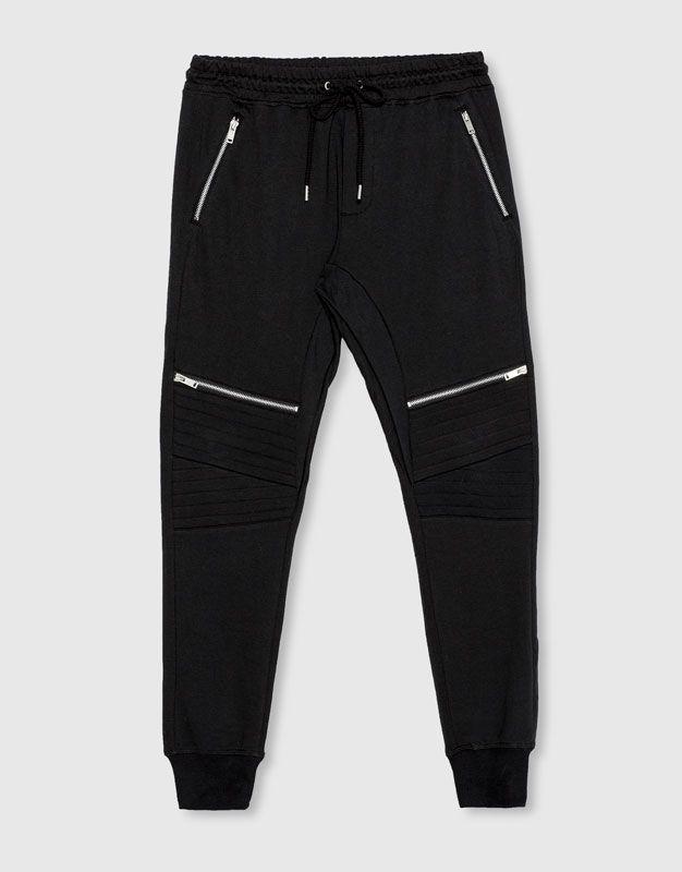 Pull Bear - hombre - novedades - ropa - pantalón jogging cremalleras - negro  - 09683544-I2016 57fbcebe813eb