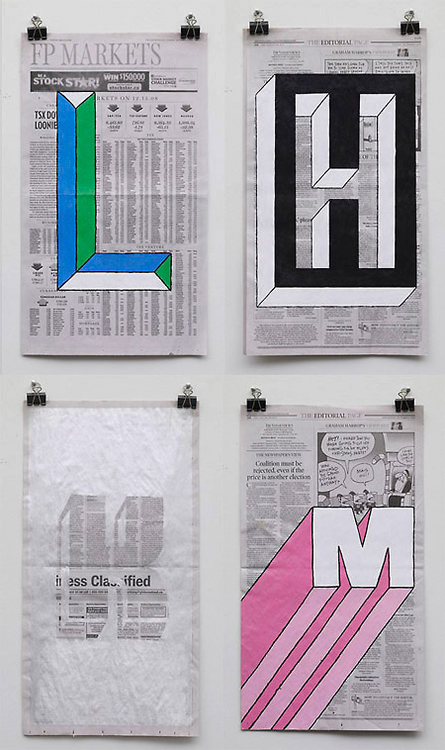 I am loving Phil Yamada's work. I think the suite's street number painted on a page of the San Francisco Chronicle and framed would be awesome.