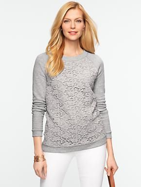 40f65f132ce6 Talbots - Lace-Front Sweatshirt
