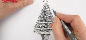 How To Draw And Color A Beautiful Christmas Tree Christmas Tree Drawing Tree Drawings Pencil Christmas Drawing