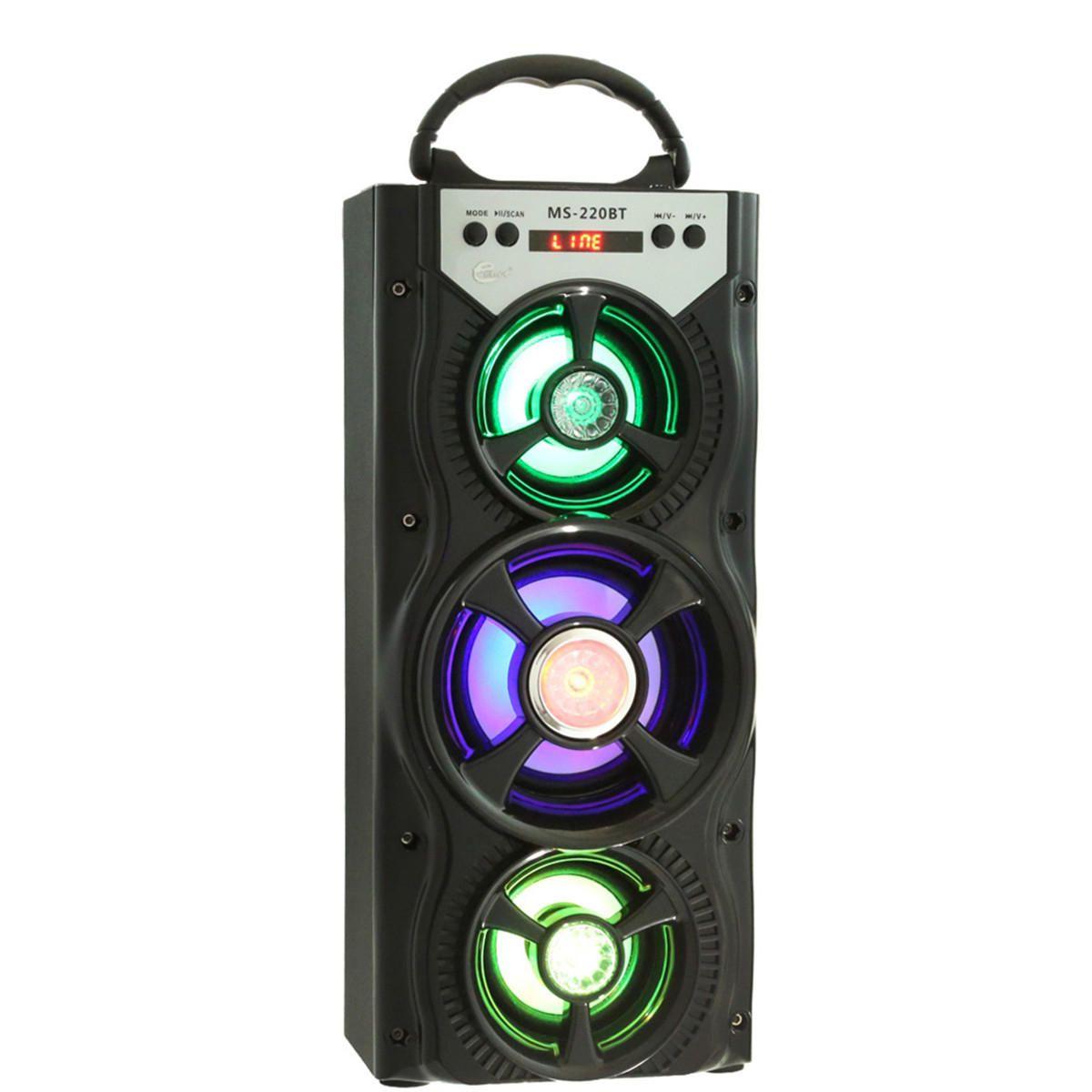 Ms 222bt Wireless Bluetooth Square Dancing Led Speaker With Fm Radio Aux Usb Tf Card Slot Altavoces Bluetooth Bluetooth Pantalla Lcd