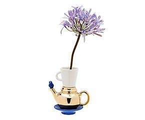 SELETTI Vaso in ceramica Ceramix blu oro - 21x14 cm