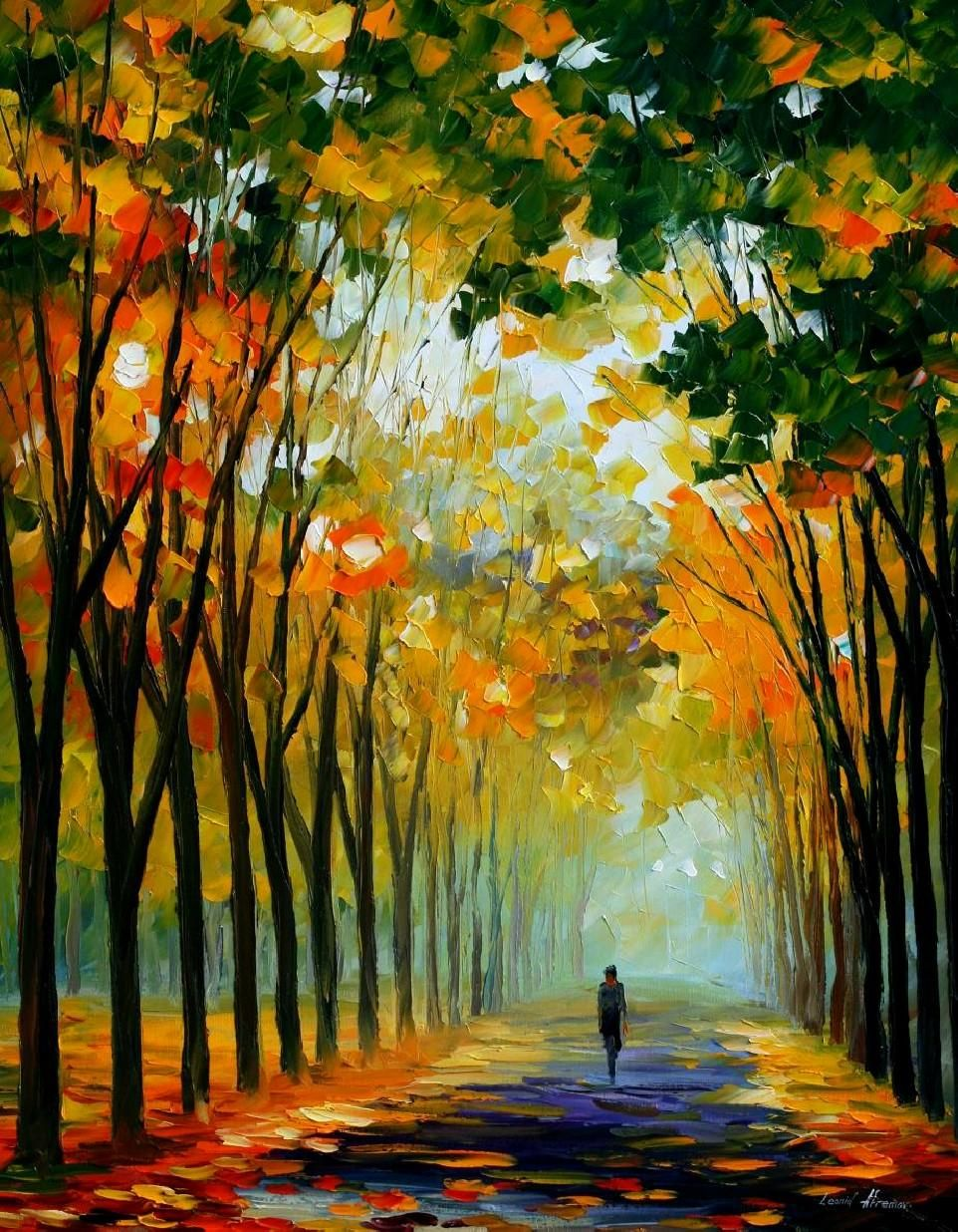 Autumn Mood And Colour Palette Knife Oil Painting