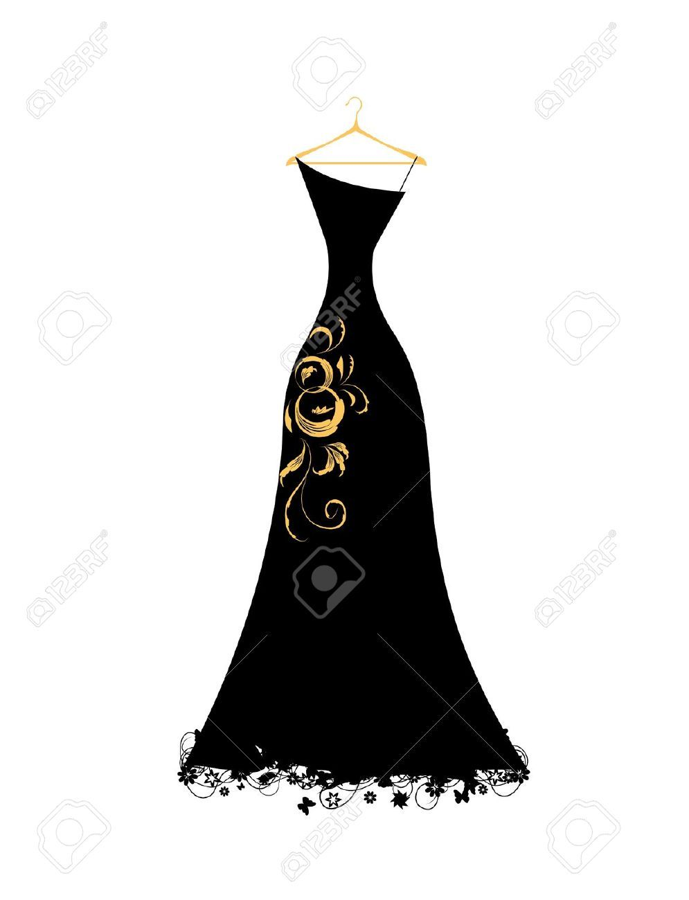 7107774-Evening-dress-black-on-hangers-Stock-Vector ...