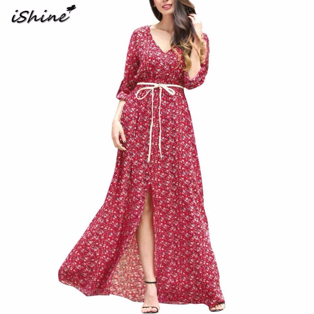 Aliexpress.com: Kup IShine 2017 Lato sexy Boho Szyfonu Beach Dress ...