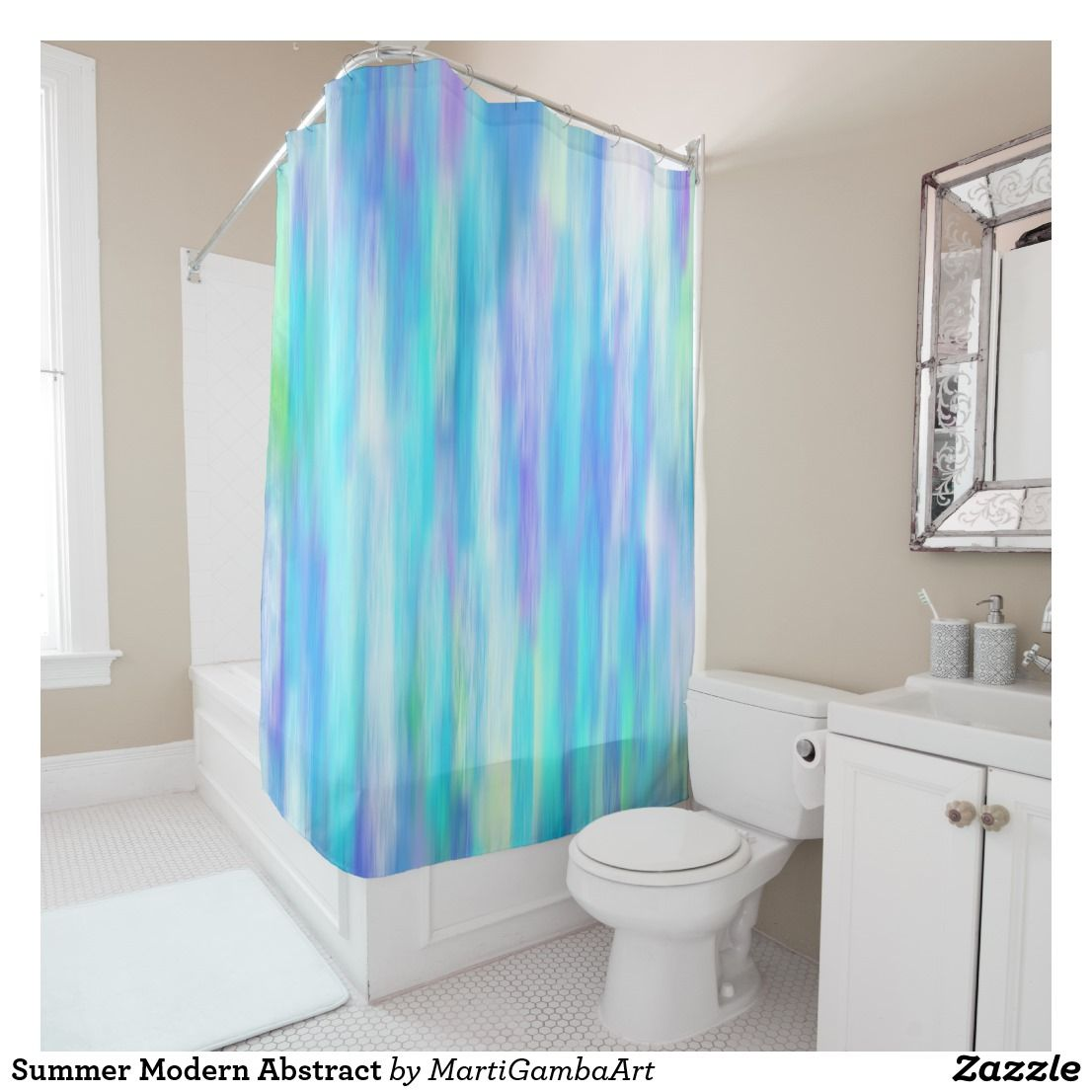 Summer Modern Abstract Shower Curtain Zazzle Com Abstract