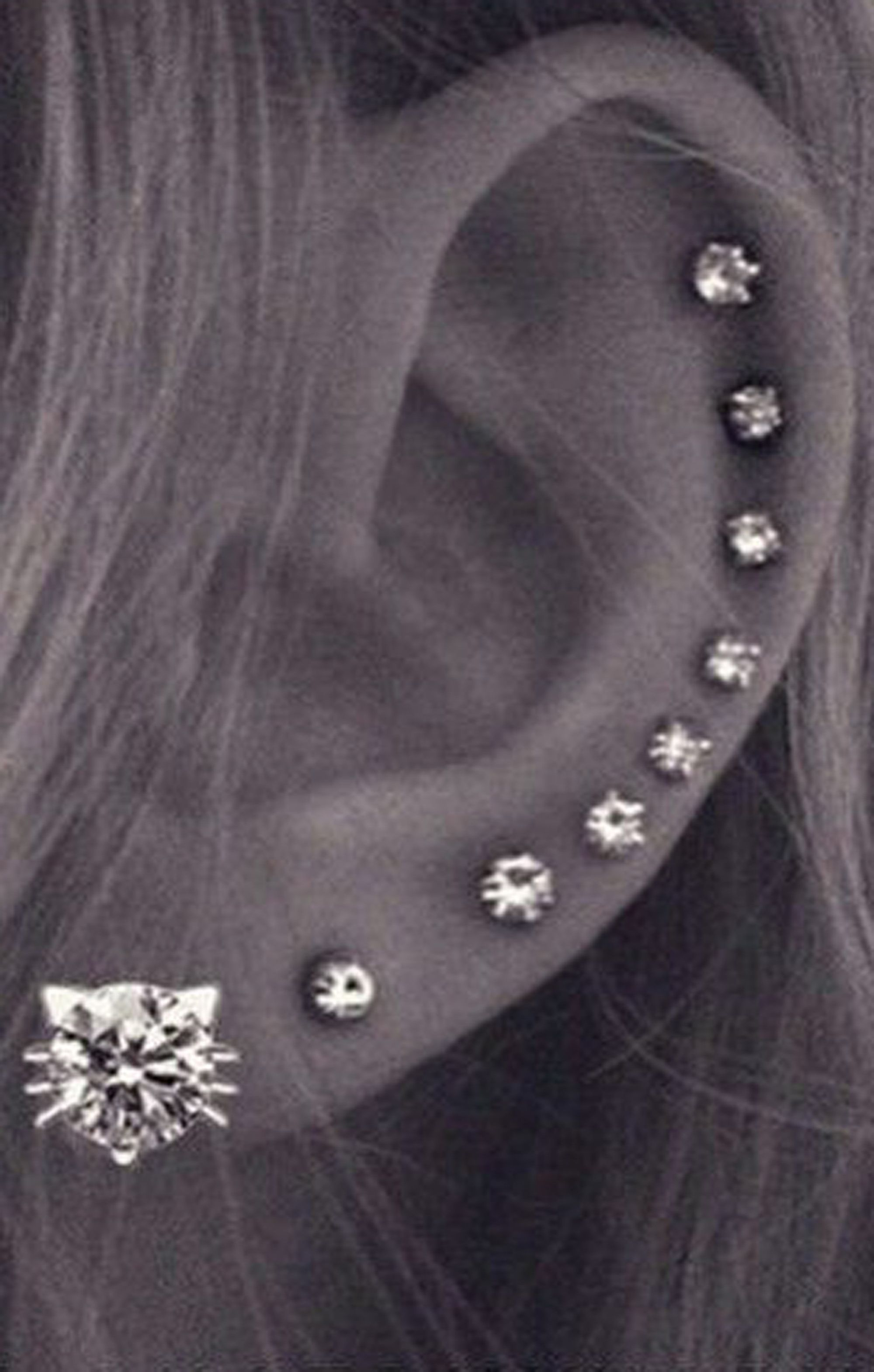 Cute All The Way Around Cartilage Helix Ear Piercing Jewelry Ideas