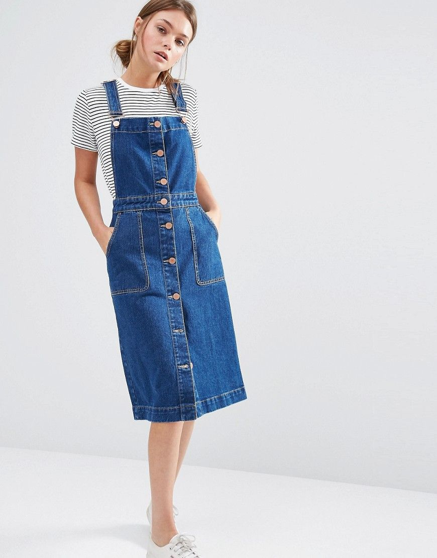 Denim Dungaree Salopette boutonnée