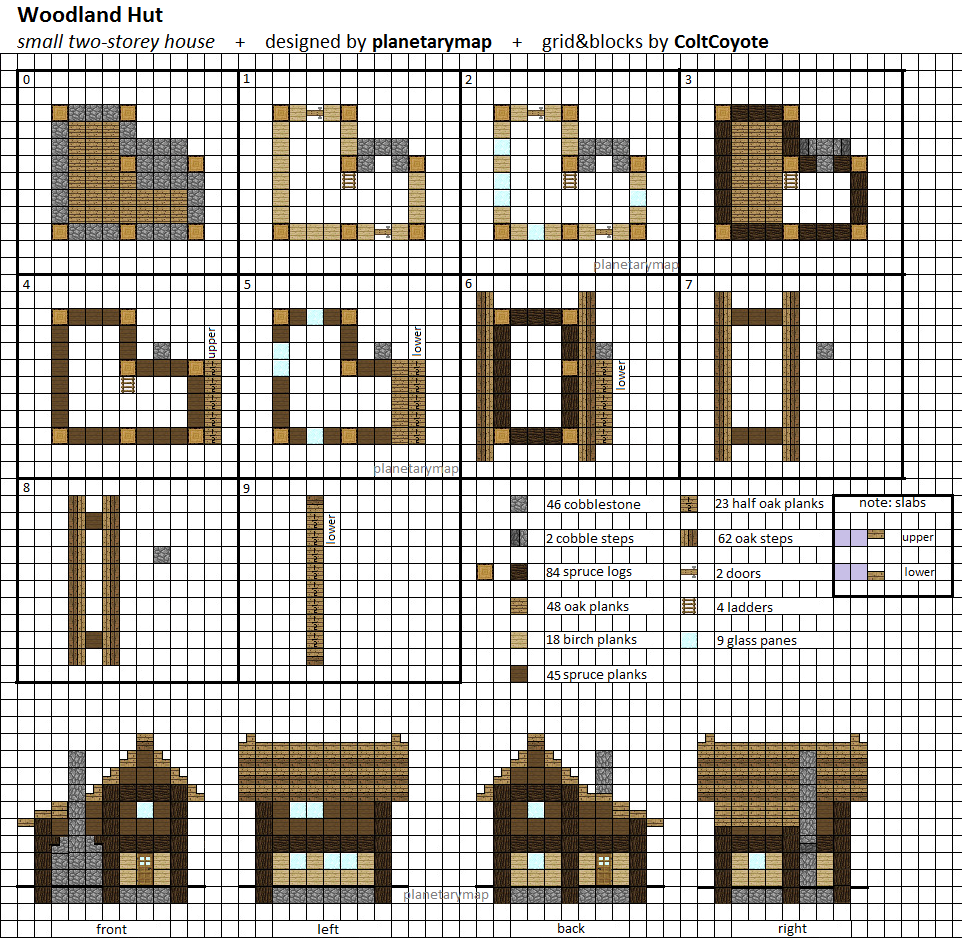 Woodland hut small minecraft house blueprint by planetarymap