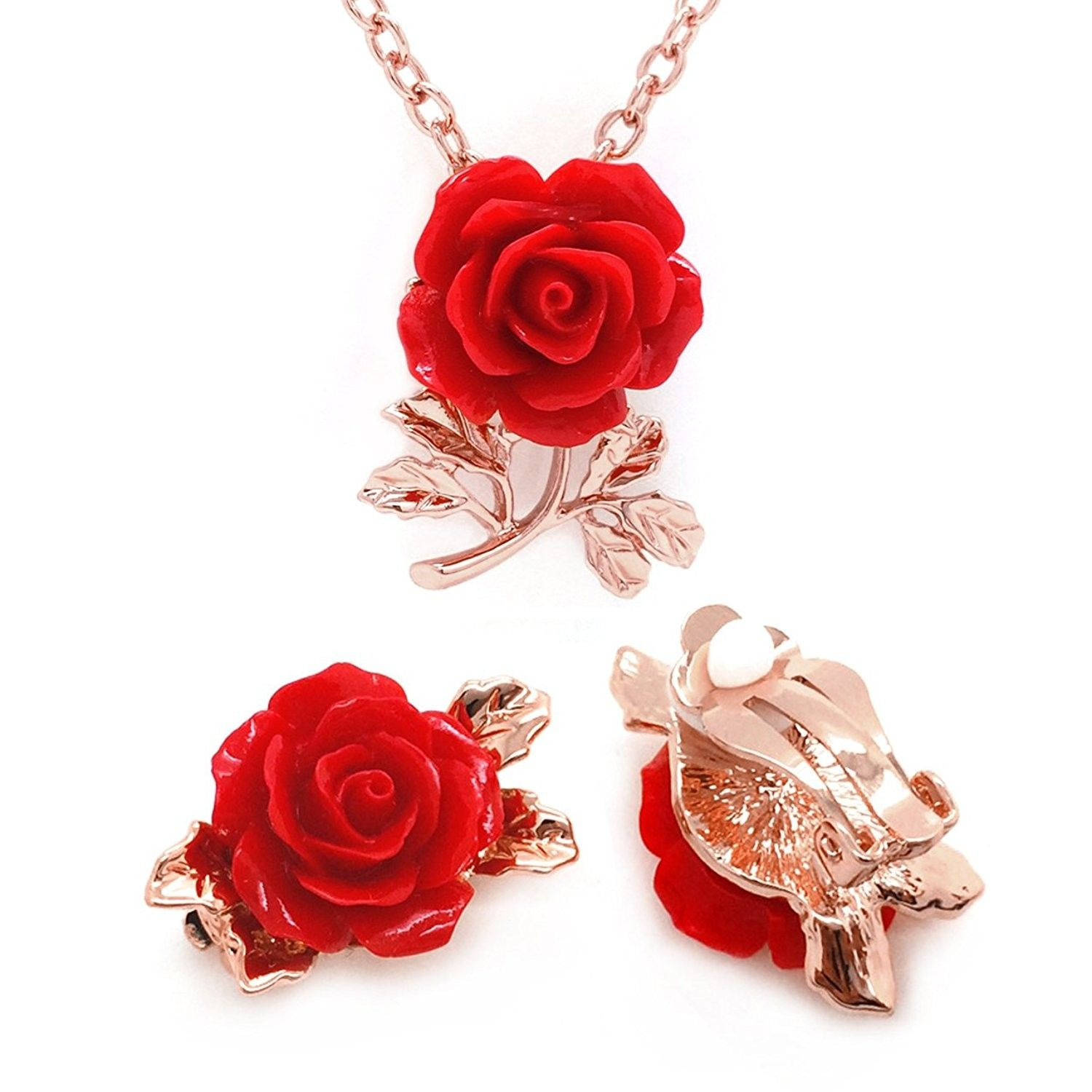 Red Flower Jewelry Set Rose Gold Plated Pendant Necklace Matching Clip On Earrings C012n9mib6s Silver Jewelry Design Jewelry Design Bride Jewelry Set