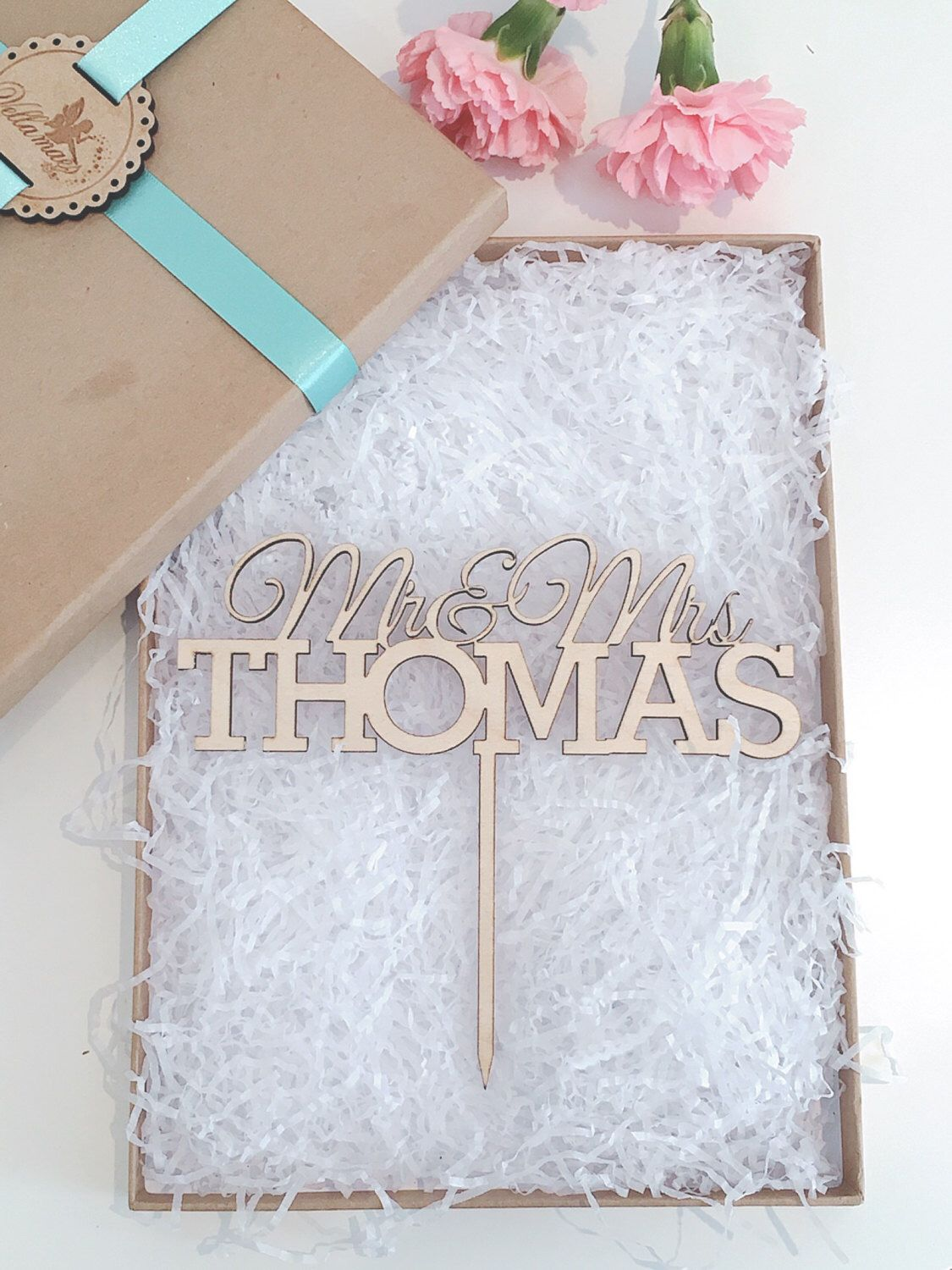 Personalised Wedding Cake Topper Wooden Glitter Rustic