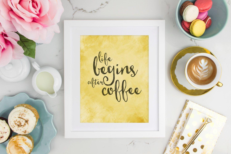 Life Begins After Coffee - Coffee Print - Digital Art - Printable ...