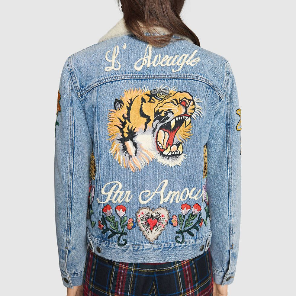 Gucci Women , Embroidered denim jacket with shearling