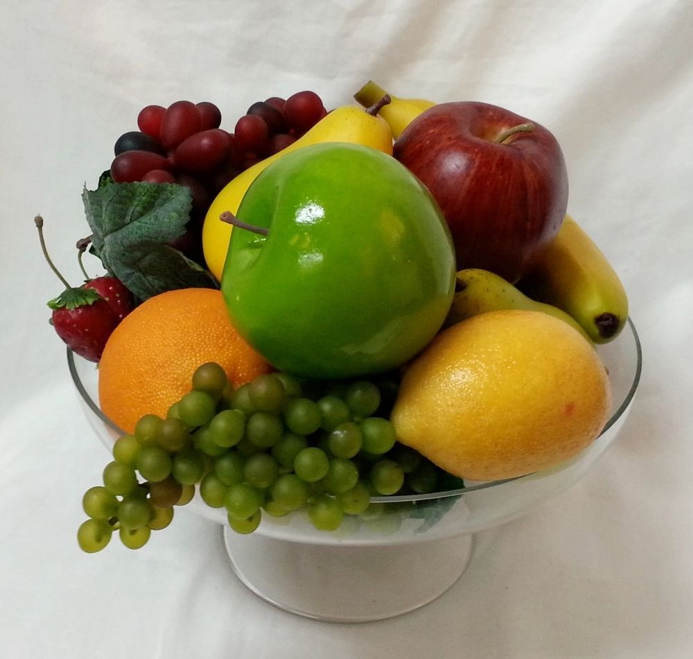 Decorative Fruit in Glass Pedestal Bowl Fake Faux Artificial ...
