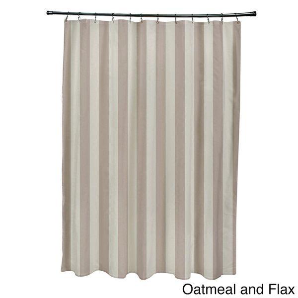 71 x 74-inch Two-tone Neutral Striped Shower Curtain | Bathroom ...