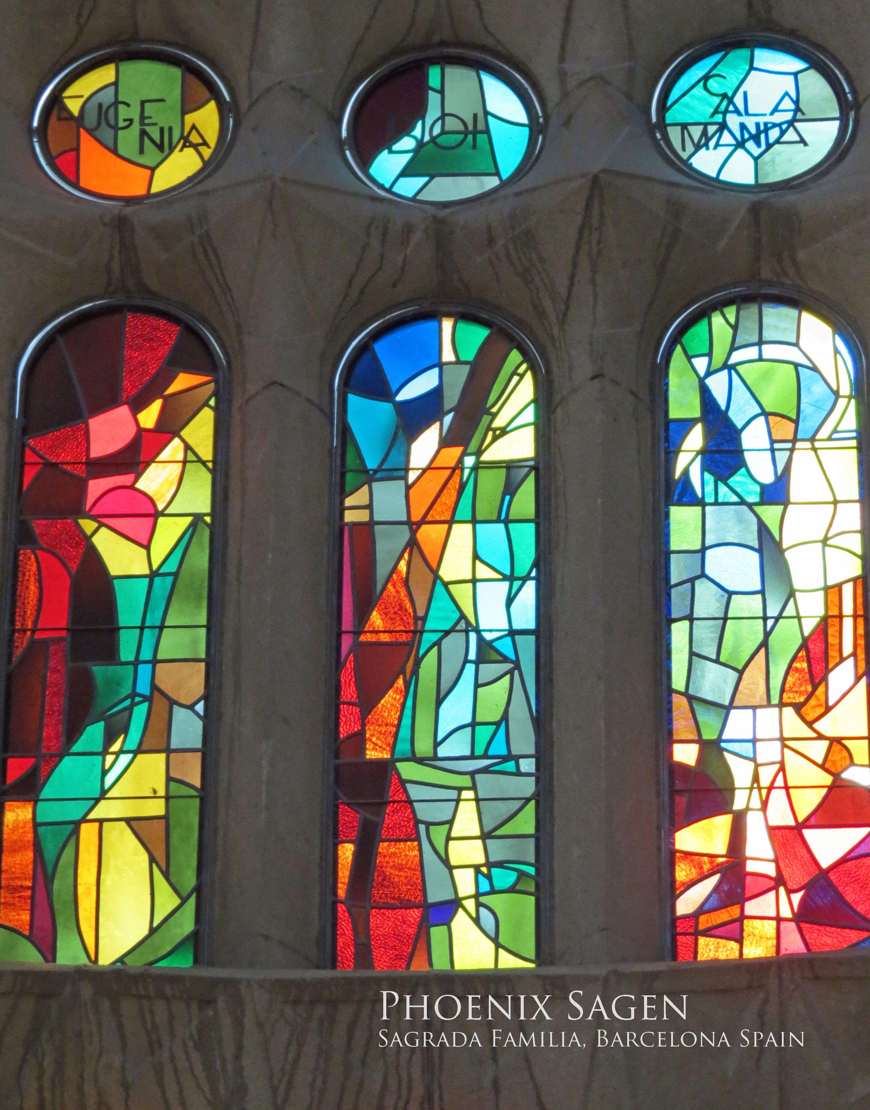 10d83d8f18b The multi-colored stained glass windows inside the Sagrada Familia ...