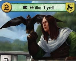 Willas Tyrell is the eldest son and heir of Lord Mace Tyrell and Lady Alerie Hightower. Though crippled with a bad leg, he is often noted as a studious, educated, and kind, and is renowned for breeding the finest hawks, hounds, and horses in the Seven Kingdoms