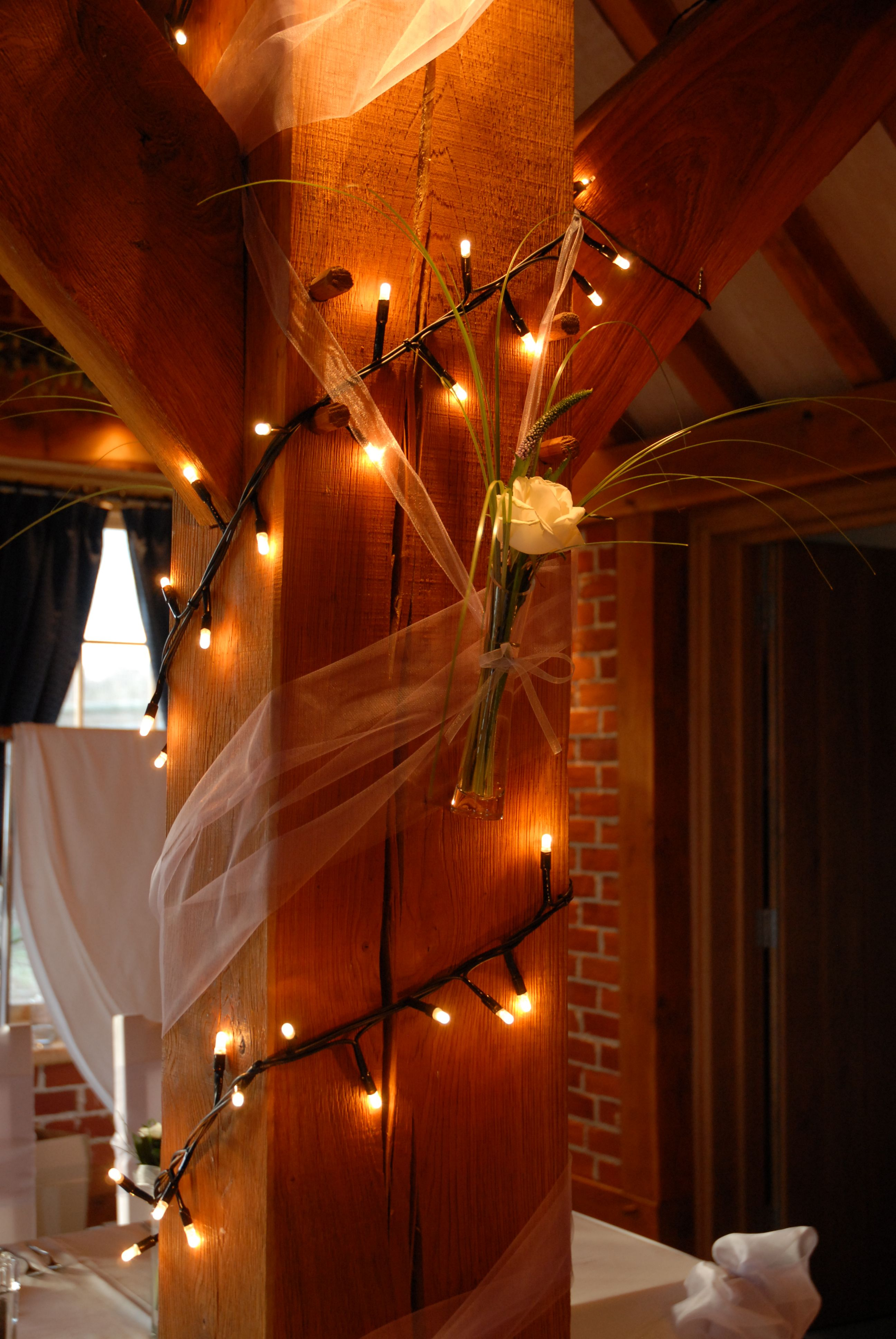 Barn wedding with fairy lights  Simple and Elegant Wedding Decorations with Fairy Lights in the
