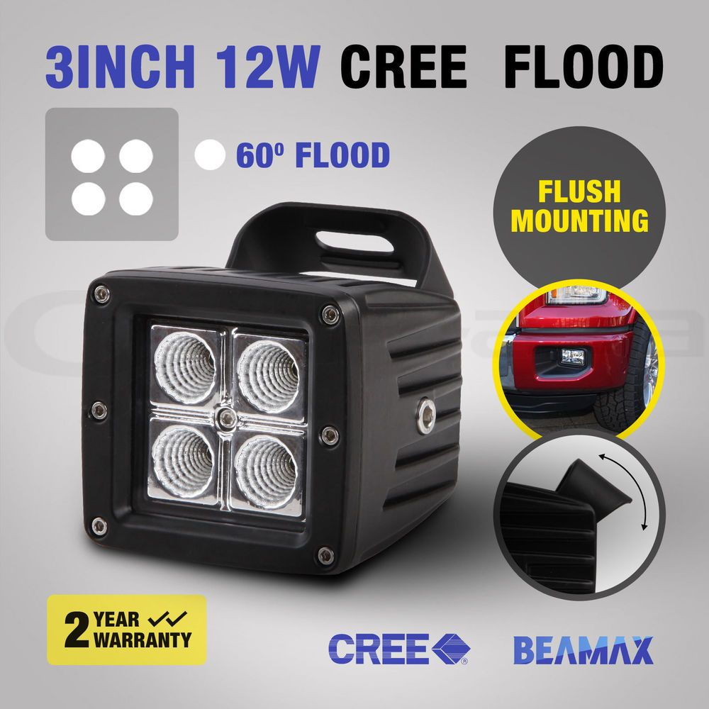 Beamax 3inch 12w Cree Led Work Lamp Flood Light Bar Offroad Driving 4wd Spot 12v With Images Led Lights For Trucks Cree Led Flood Lights