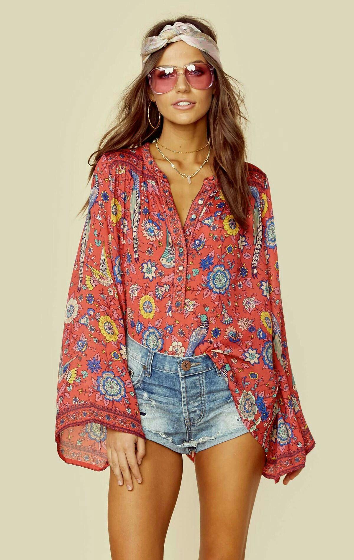 962165de5 Blusa jeans inspiración retro   Boho Spirit in 2019   Hippie outfits ...