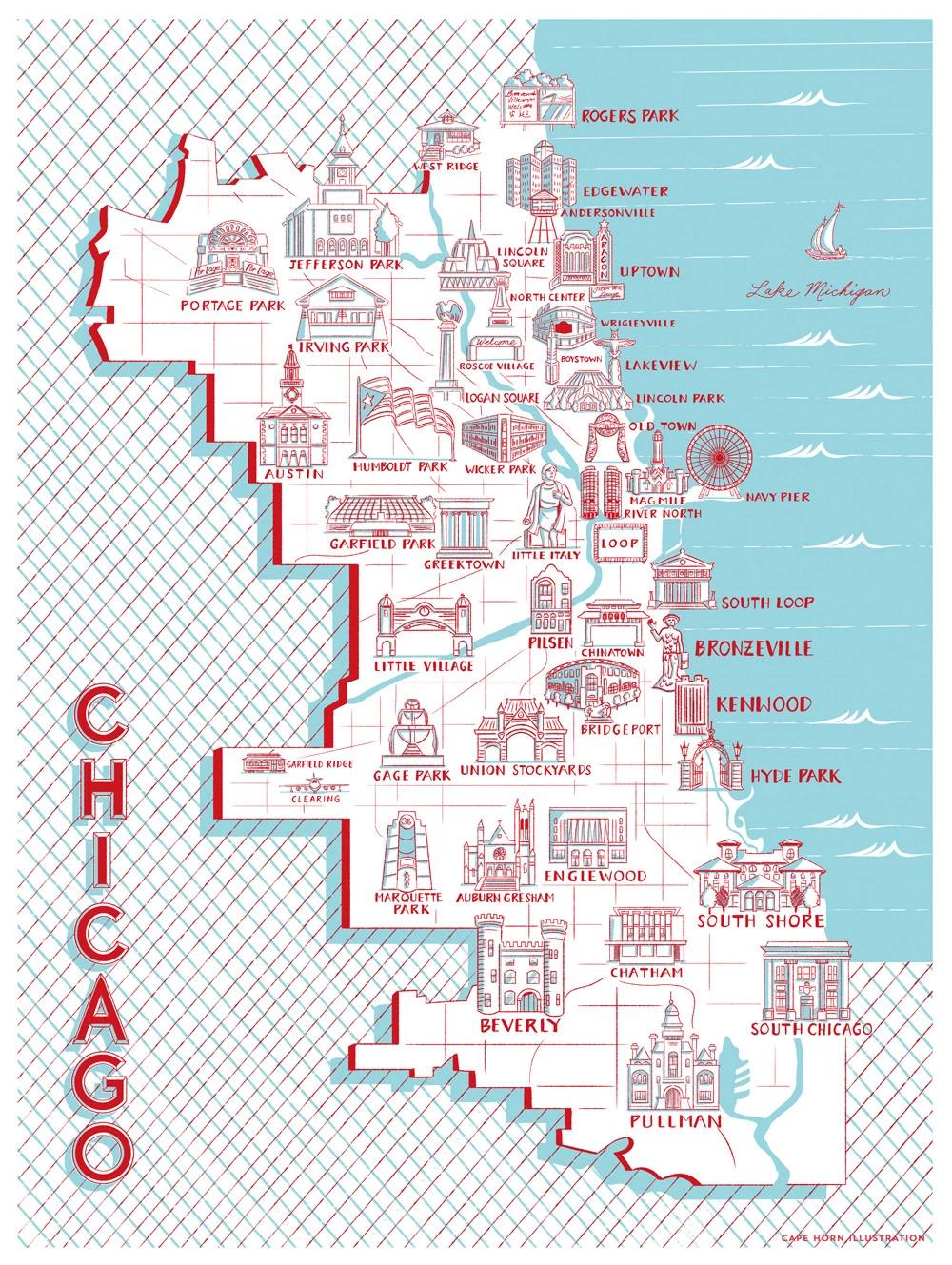 Chicago Map of Landmarks (18